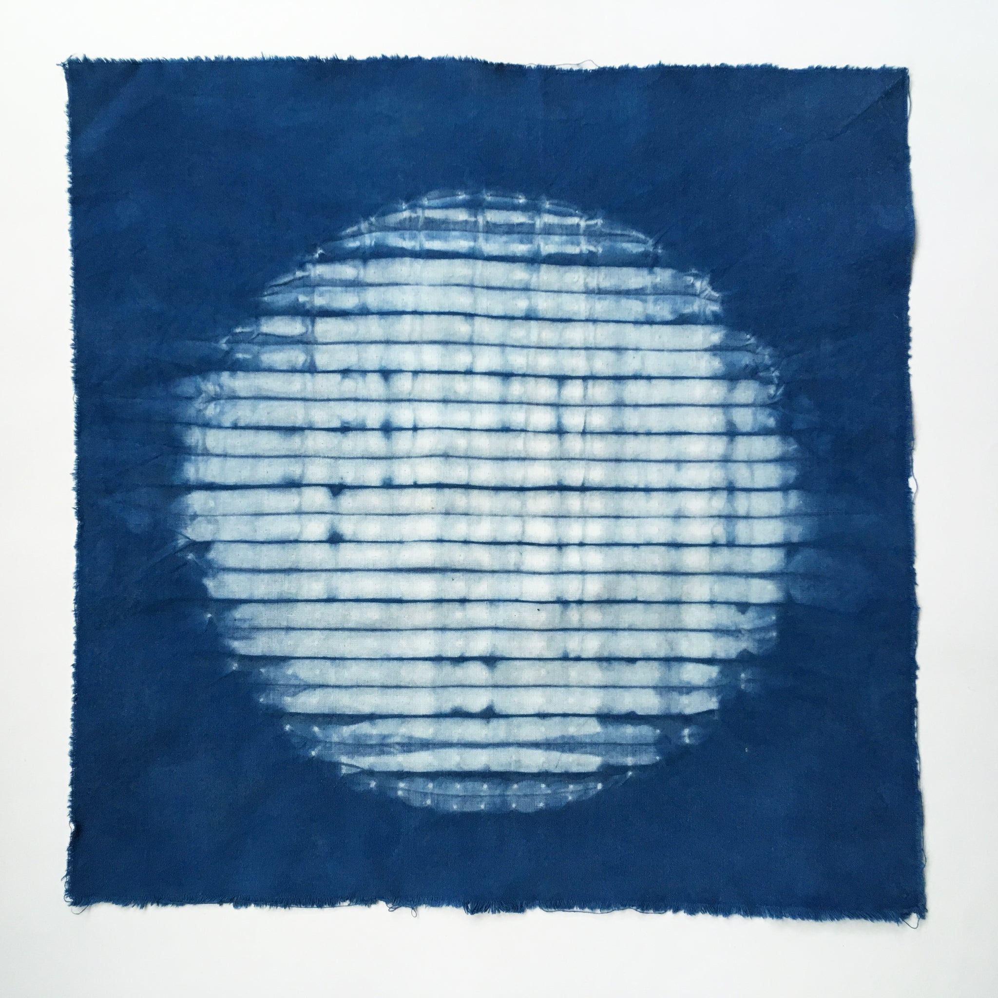 Example of shibori fabric dyed with indigo kit