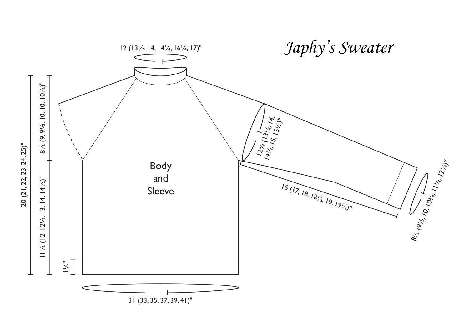 Detailed schematic line drawing with dimensions for Japhy's Sweater pattern