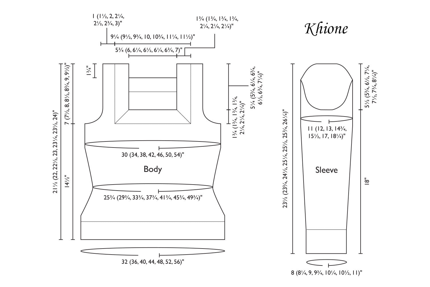 Detailed schematic line drawing with dimensions for Khione sweater