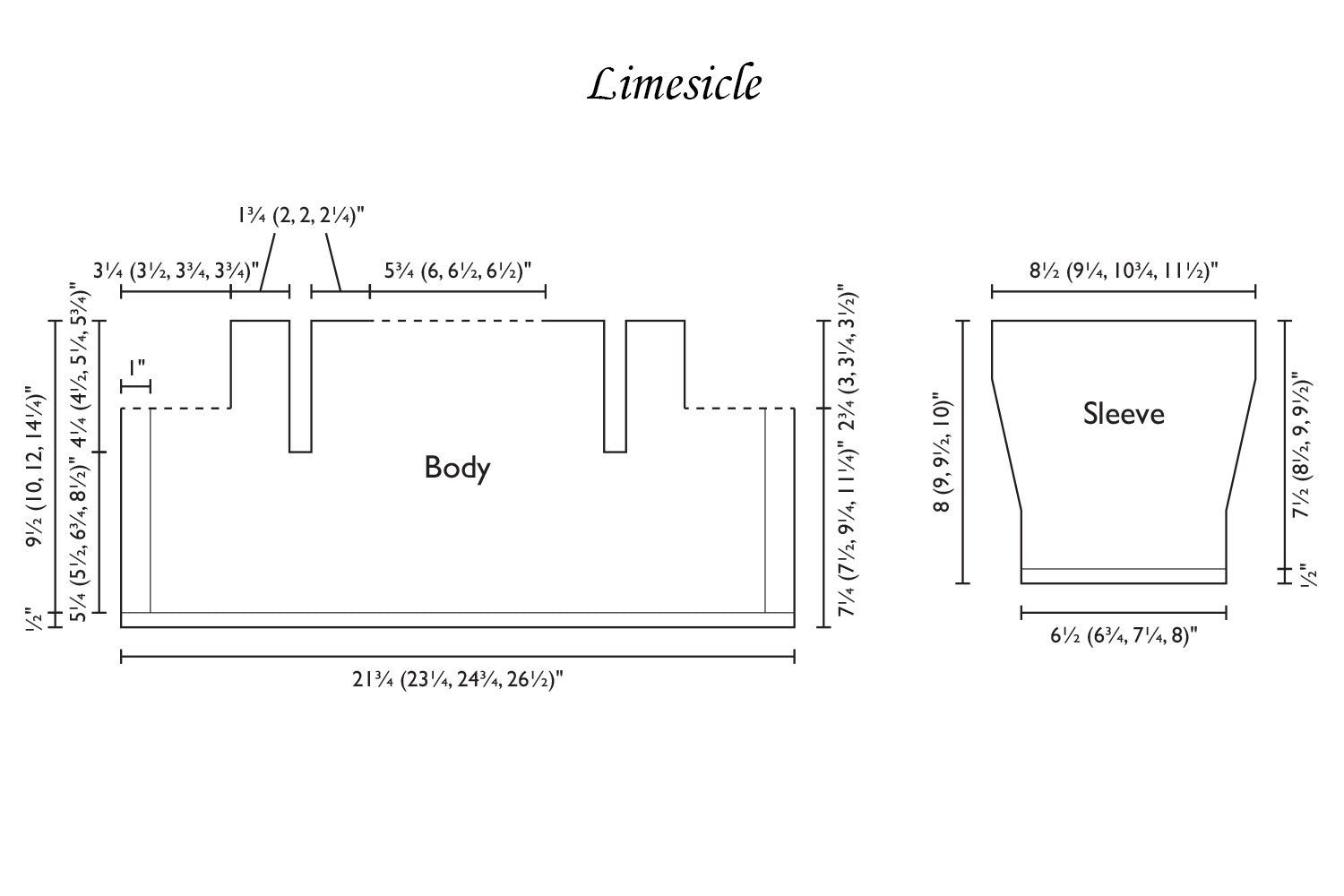 Detailed schematic line drawing with dimensions for Limesicle baby cardigan