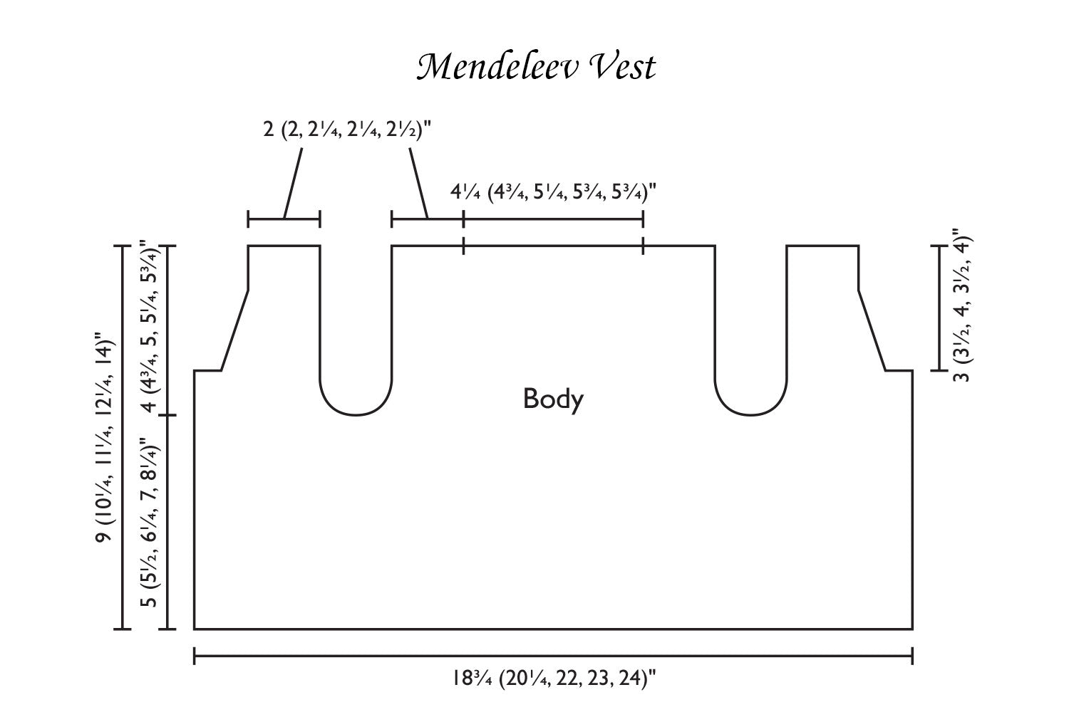 Detailed schematic line drawing with dimensions for baby vest