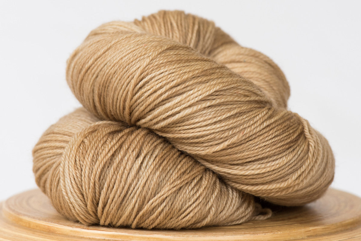 Cafe au Lait tonal neutral pale brown fingering weight hand-dyed yarn