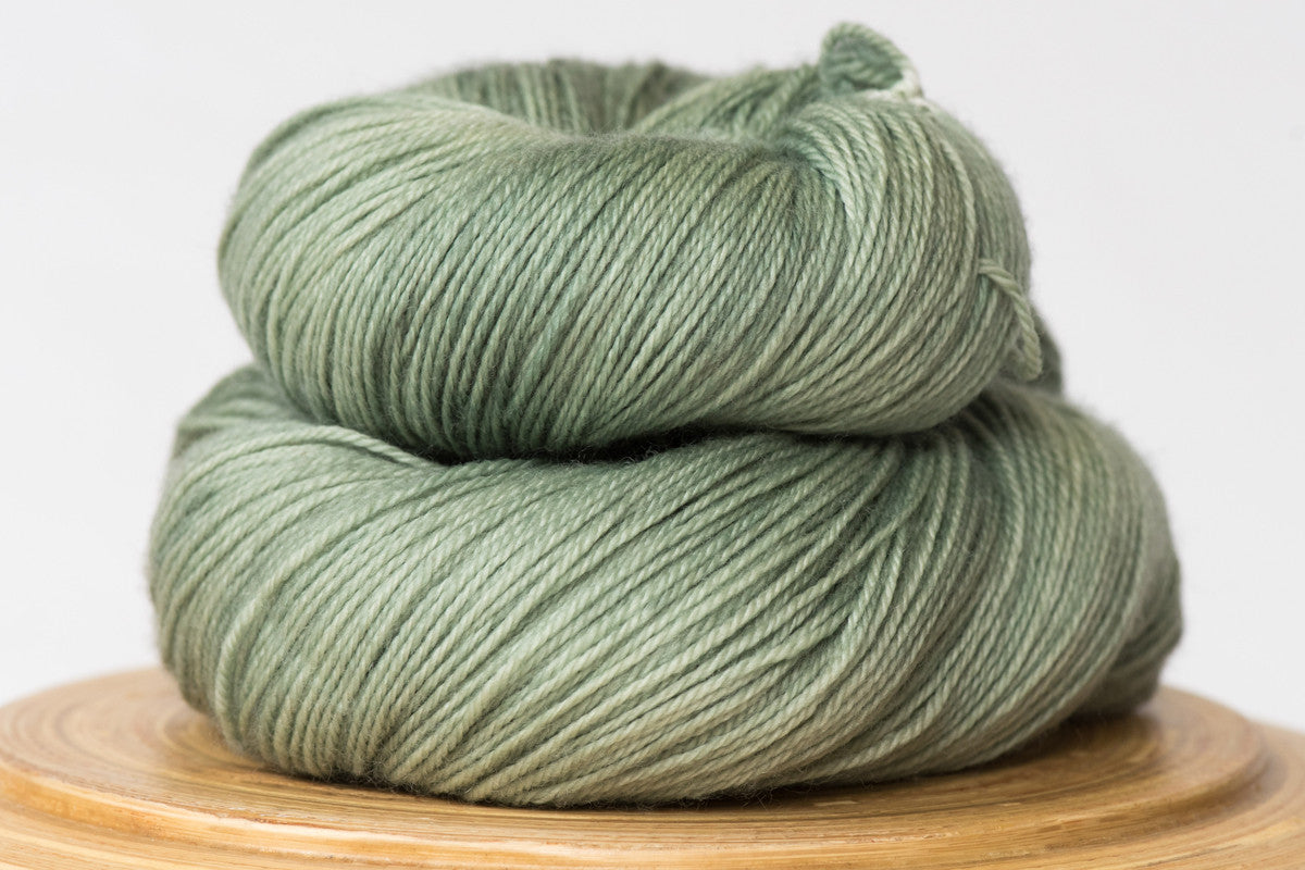 Cardamom tonal pale grey green fingering weight hand-dyed yarn