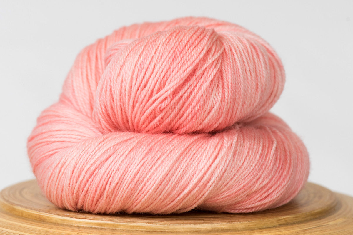 Cotton candy tonal pink fingering weight hand-dyed yarn