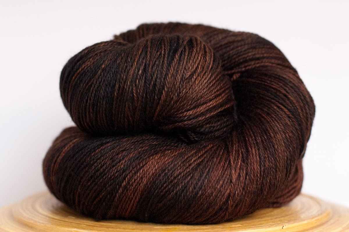 Dark Roast tonal deep brown fingering weight hand-dyed yarn