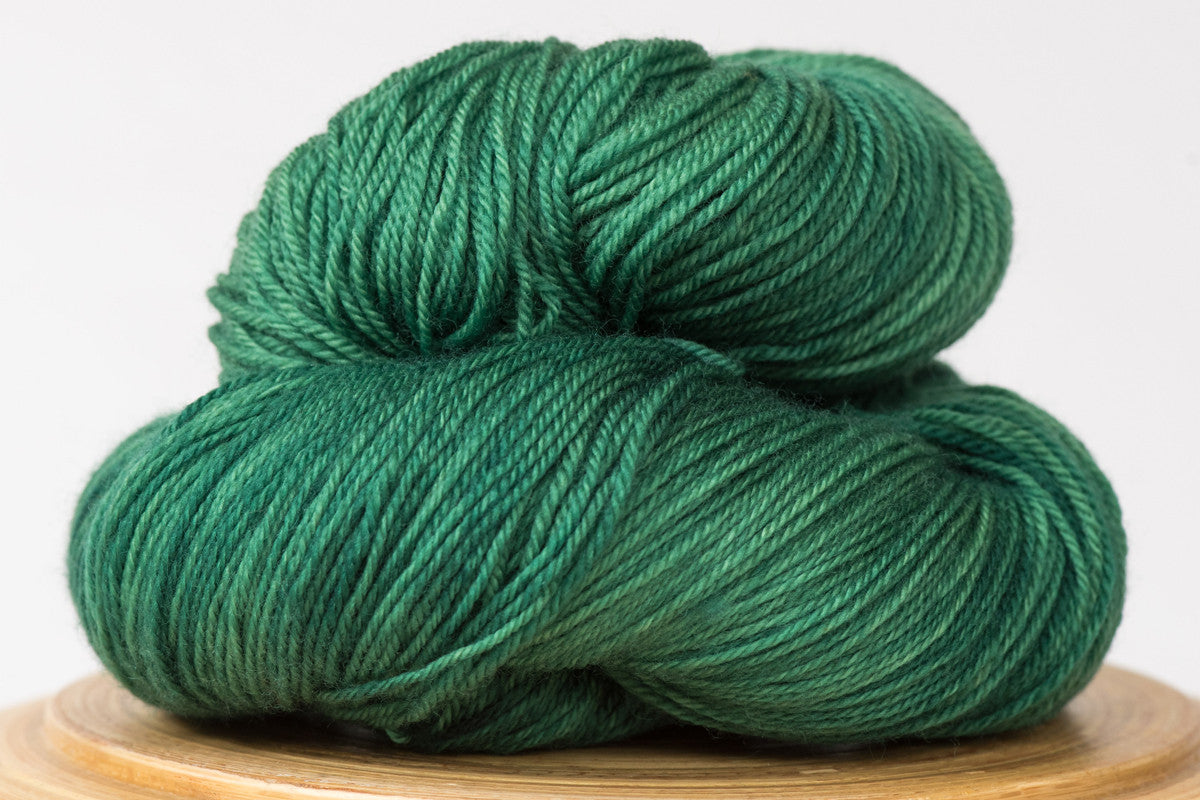 Emerald City tonal green fingering weight hand-dyed yarn