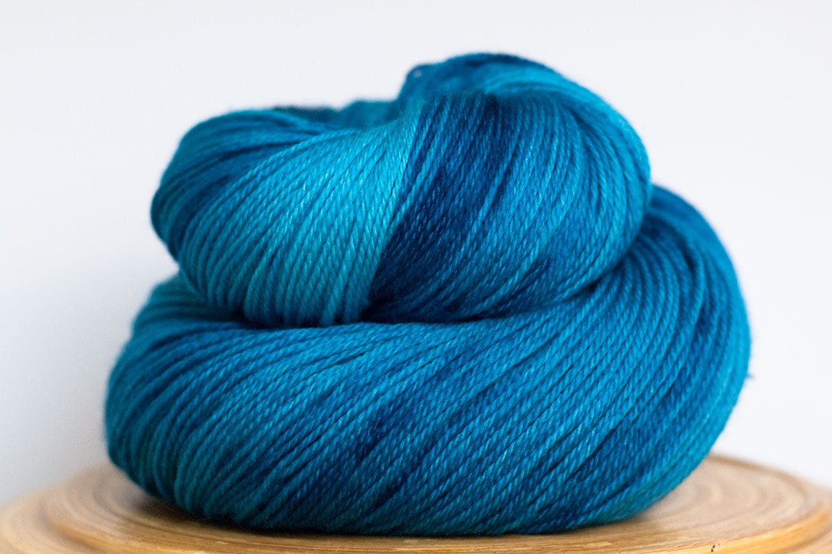 Fiji tonal bright blue fingering weight hand-dyed yarn