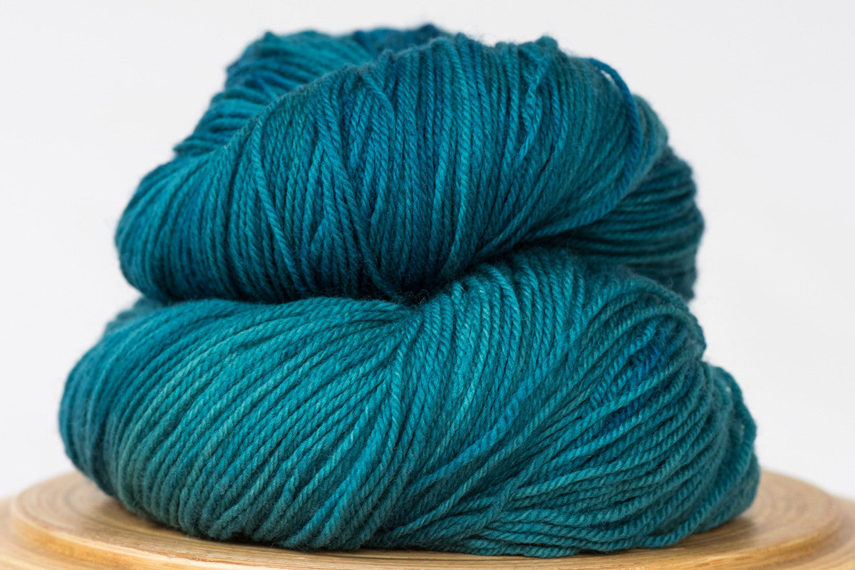 Georgian bay tonal blue green fingering weight hand-dyed yarn