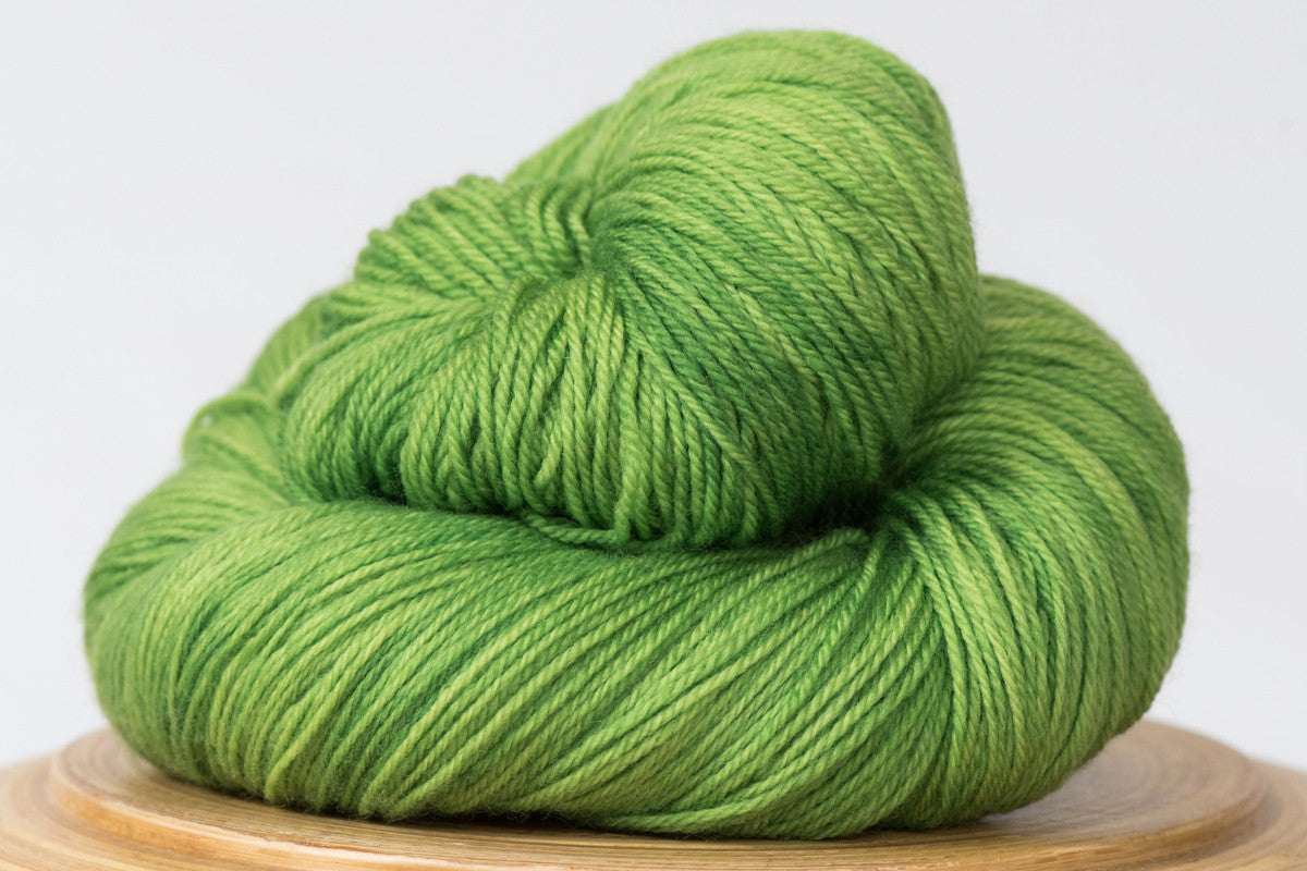 Grasshopper tonal bright green fingering weight hand-dyed yarn