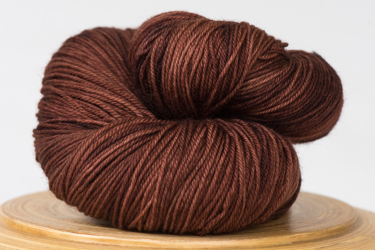 Hot cocoa tonal warm brown fingering weight hand-dyed yarn