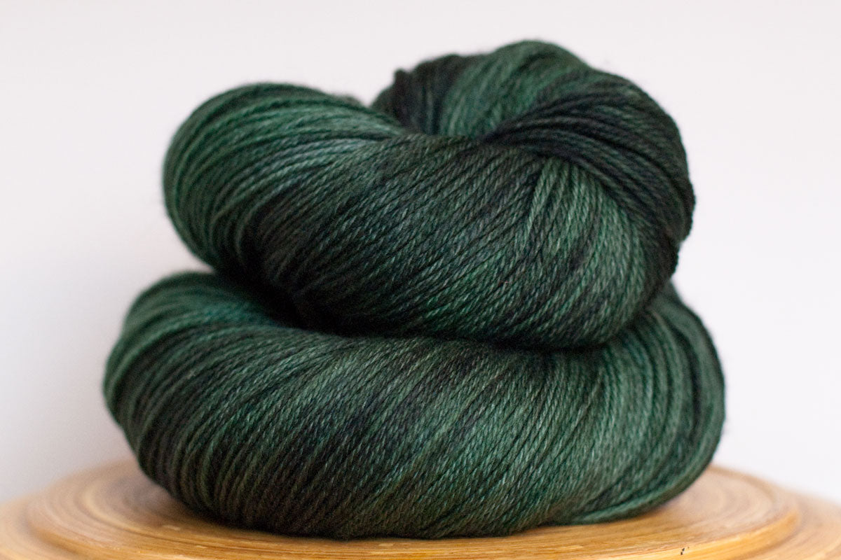 Kelp tonal dark green fingering weight hand-dyed yarn