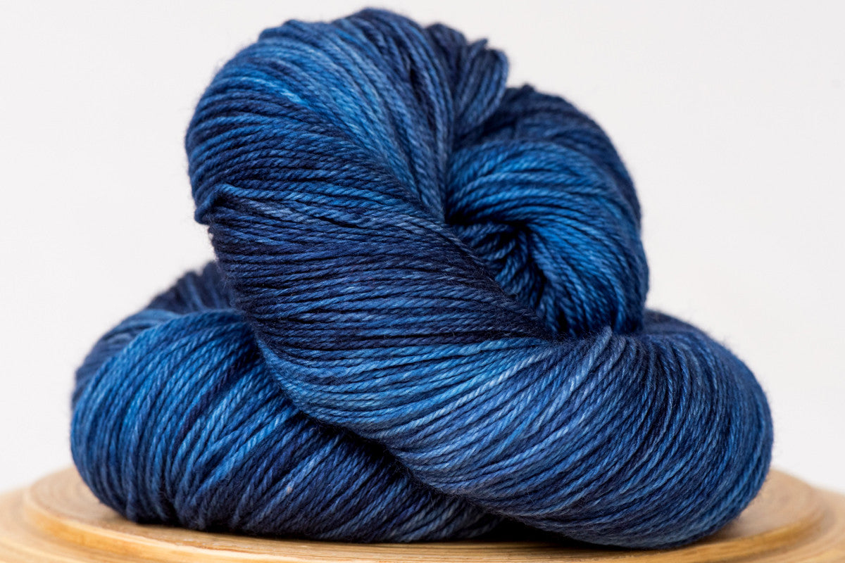 Moon shadow tonal rich blue fingering weight hand-dyed yarn