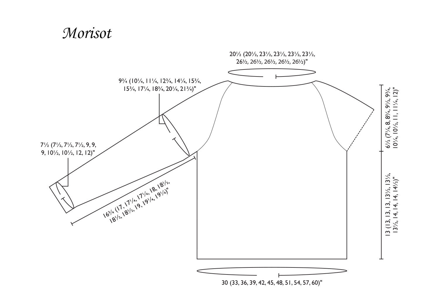 Detailed schematic line drawing with dimensions for Morisot sweater