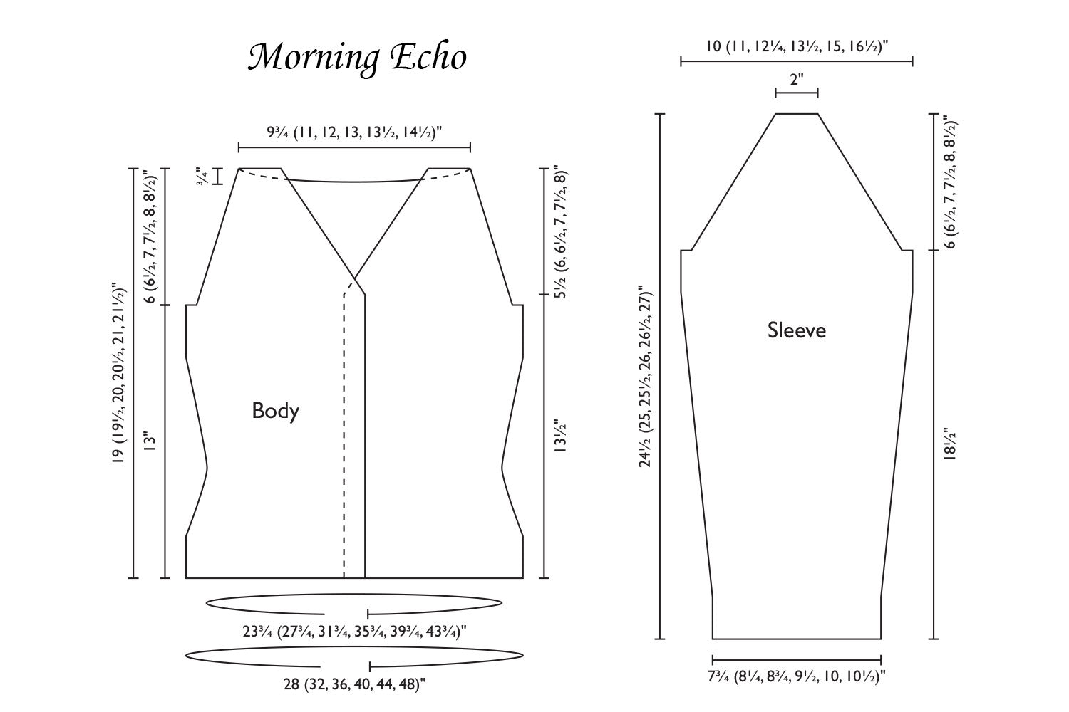 Detailed schematic line drawing with dimensions for Morning Echo cardigan