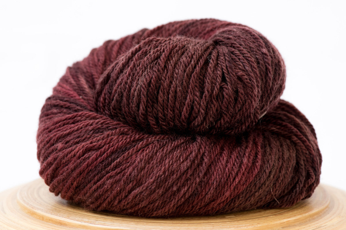 Black Cherry - warm brown semi-solid hand-dyed DK weight wool