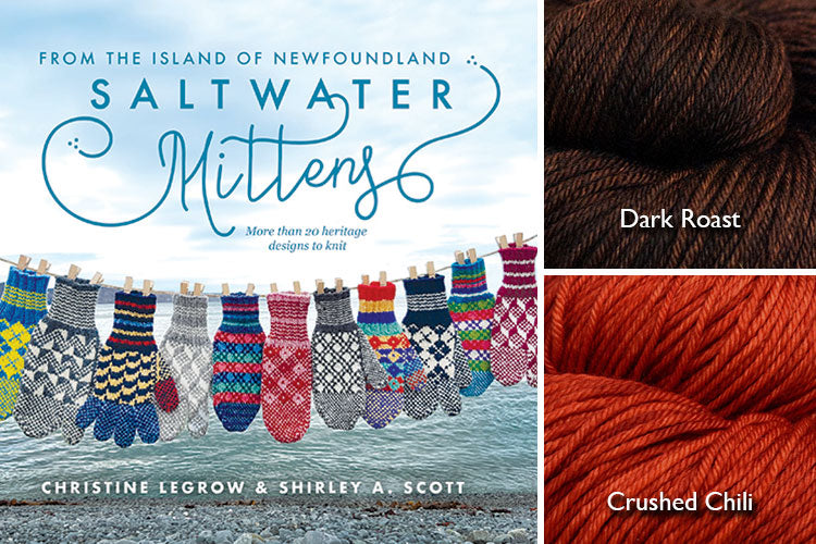 Saltwater Mittens book with dark brown and rich orange hand-dyed yarn