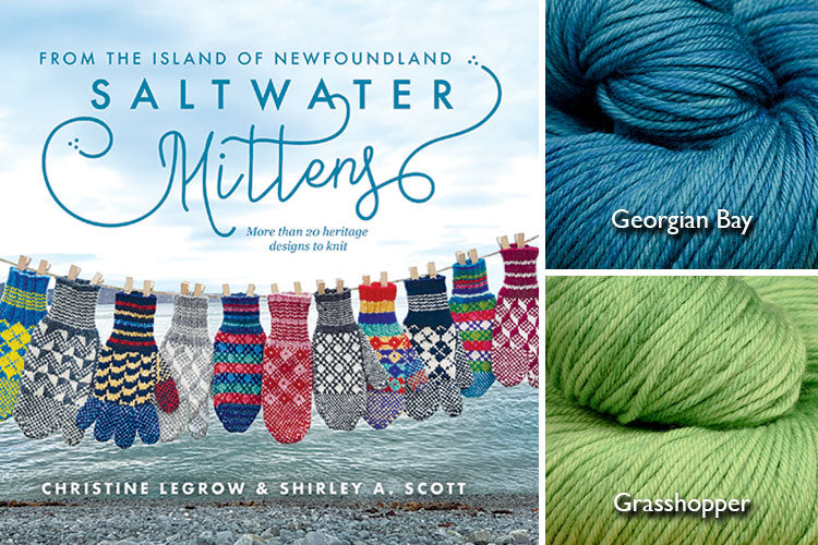 Saltwater Mittens book with teal and lime green hand-dyed yarn