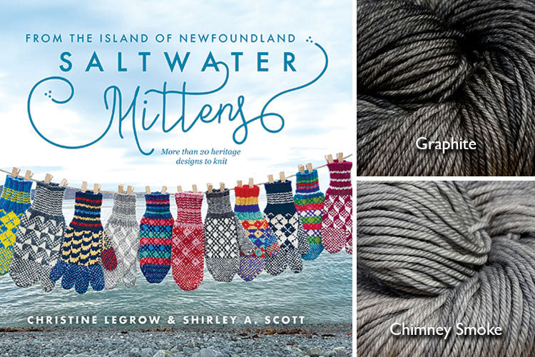 Saltwater Mittens book with light grey and dark grey hand-dyed yarn