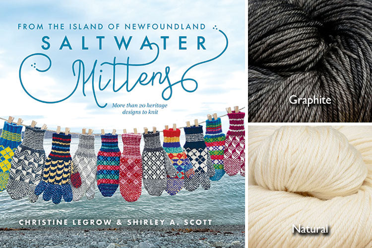 Saltwater Mittens book with natural and dark grey hand-dyed yarn