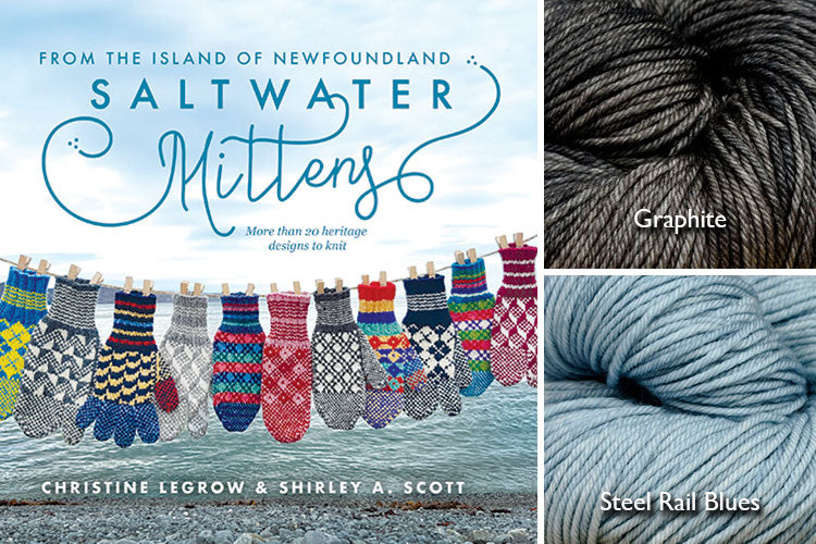 Saltwater Mittens book with light blue and dark grey hand-dyed yarn