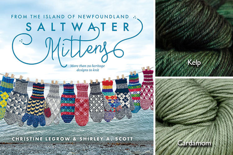 Saltwater Mittens book with sage green and dark green hand-dyed yarn