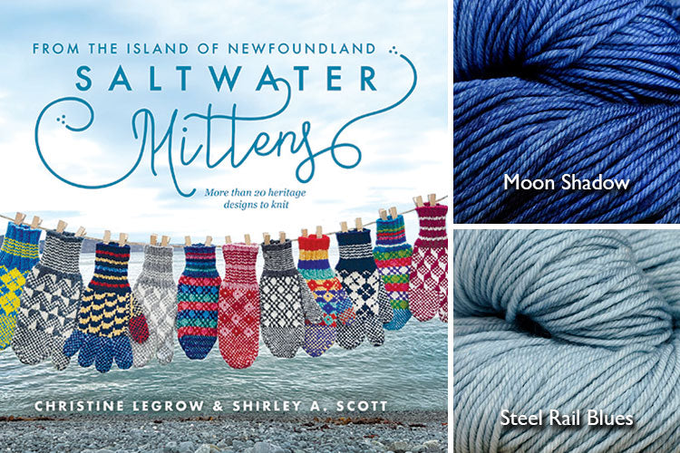 Saltwater Mittens book with light blue and dark blue hand-dyed yarn