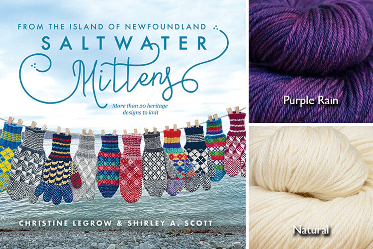 Saltwater Mittens book with rich purple and natural hand-dyed yarn