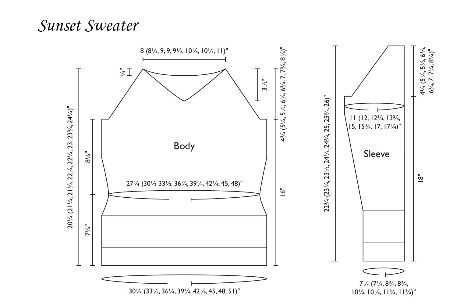Detailed schematic line drawing with dimensions for Sunset Sweater