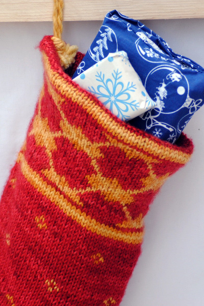 Christmas stocking knitting kit with argyle motif