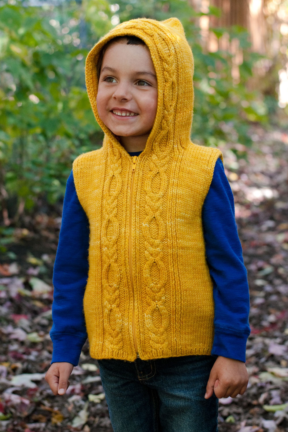 Autumn Hike Hoodie cabled kid's vest knitting pattern