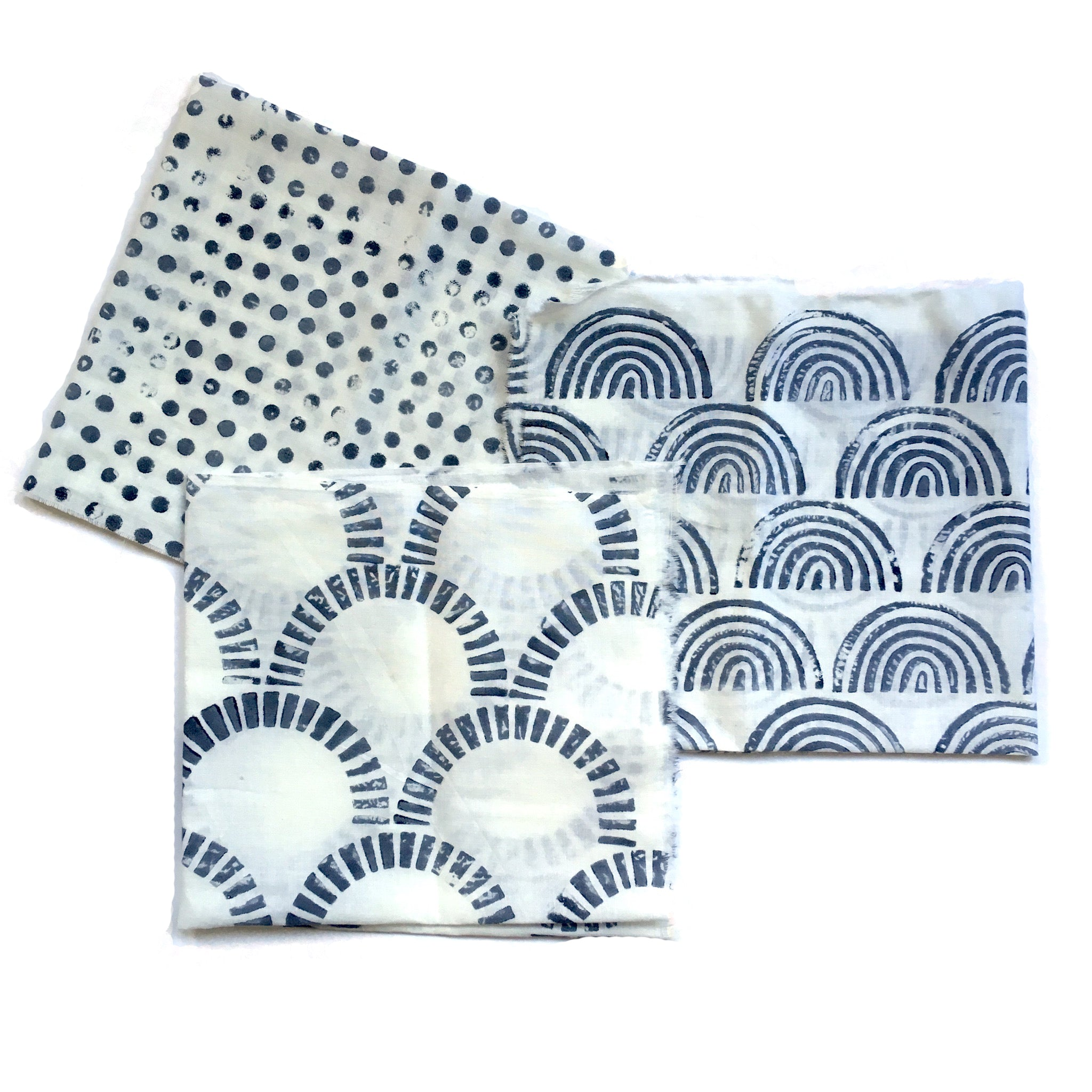examples of fabrics block printed with indigo