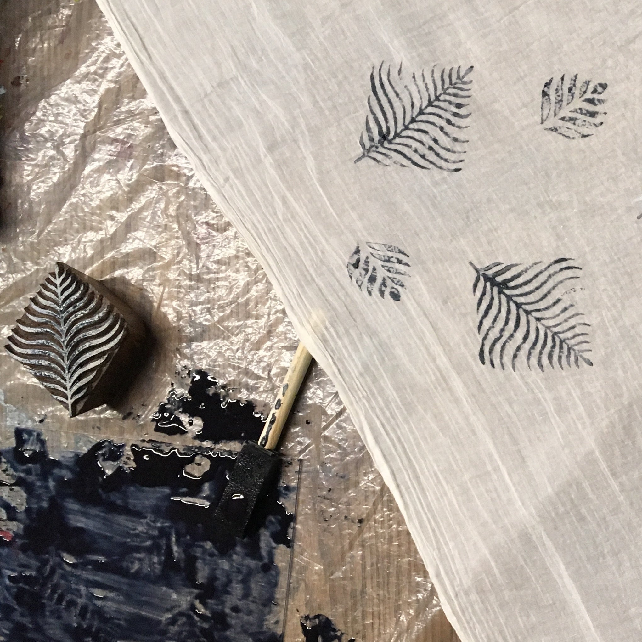 example of block printing with indigo