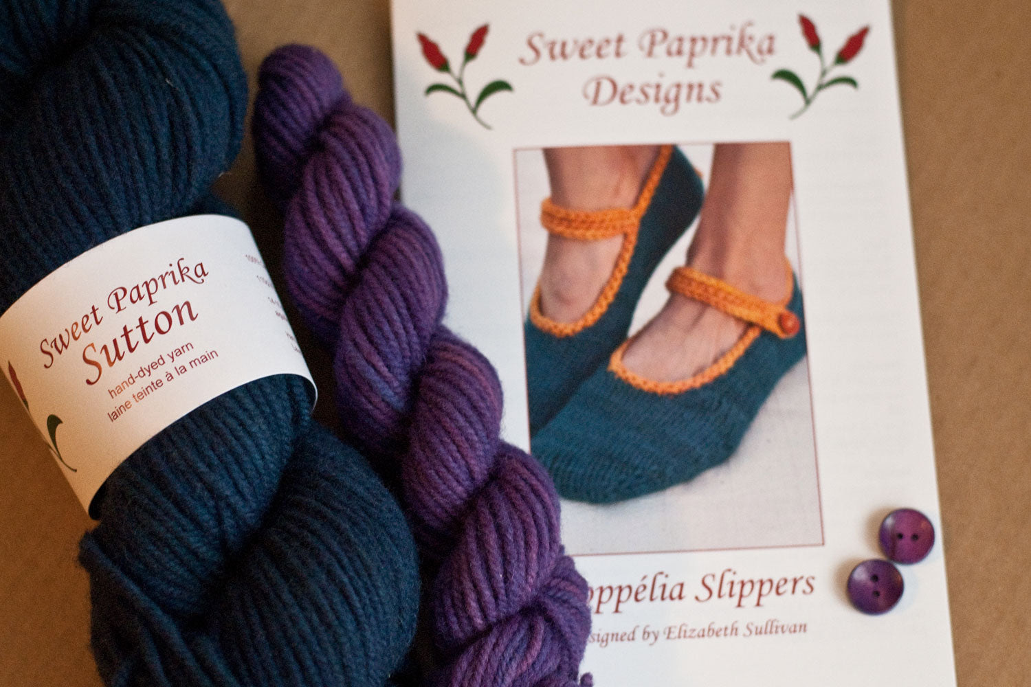 kit components: knitting pattern, bulky yarn in dark blue and purple, purple buttons