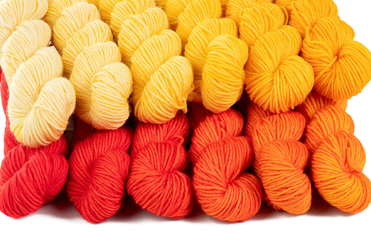 Crescendo hand-dyed gradient yarn set combination: Buttercup + Sunrise