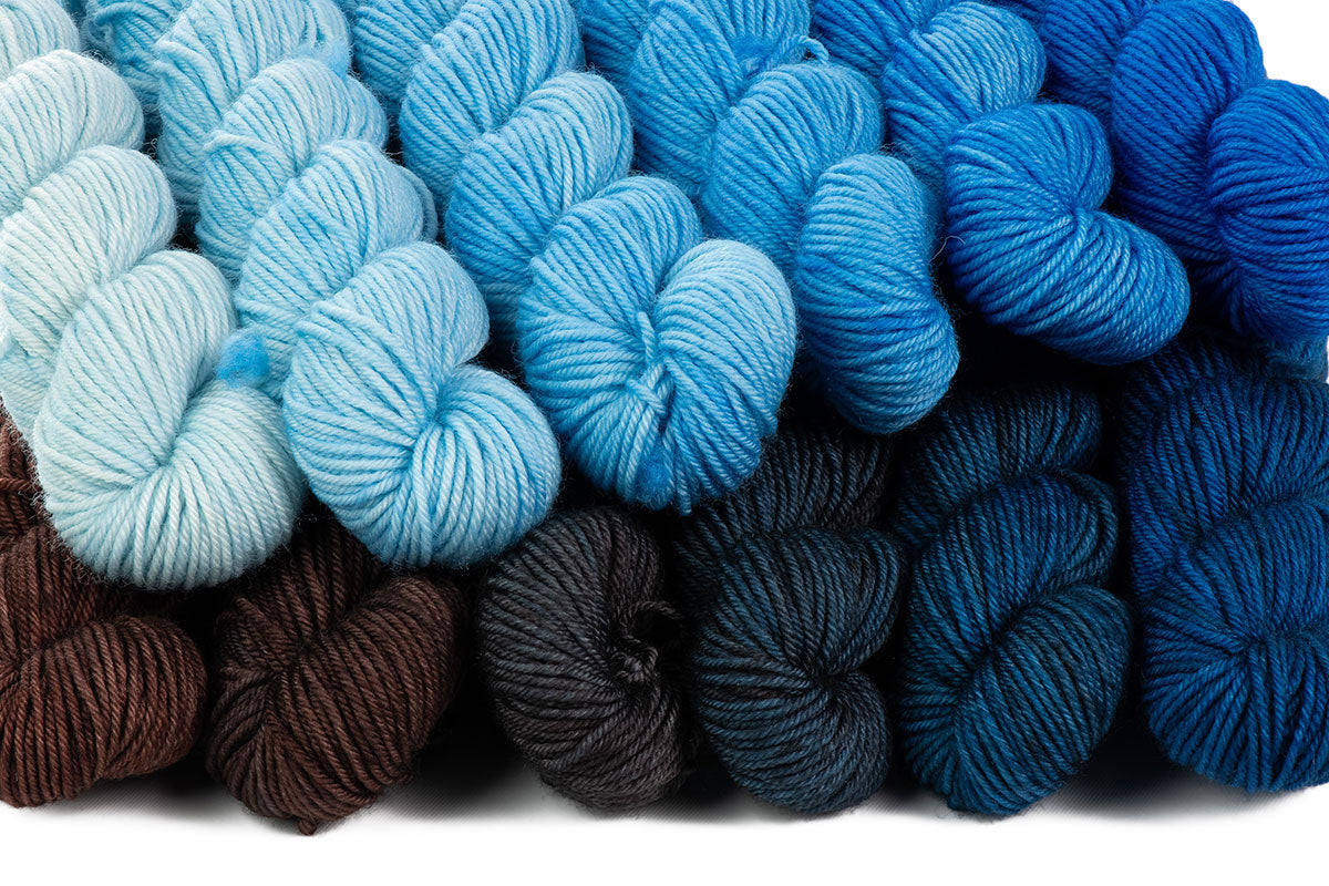 Crescendo hand-dyed gradient yarn set combination: Delta Blues + Gaia
