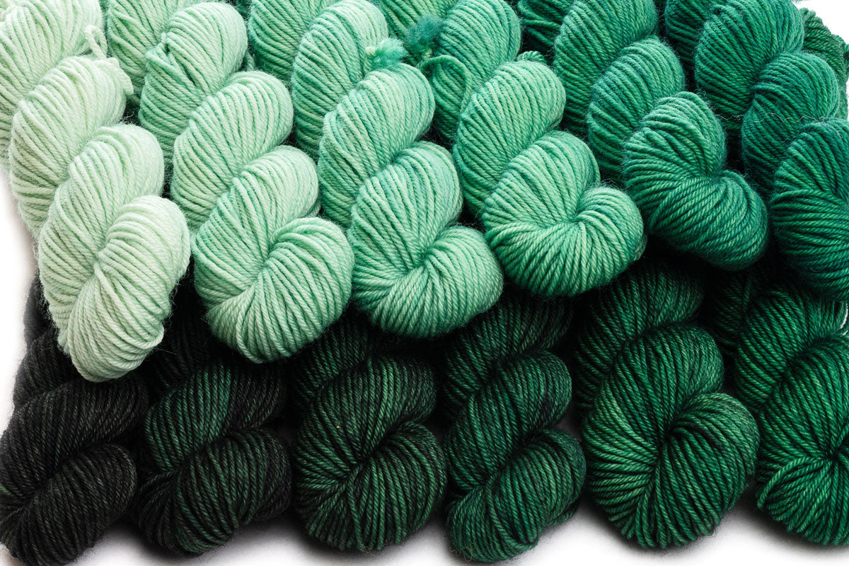 Crescendo hand-dyed gradient yarn set combination: Wintergreen + Black Spruce