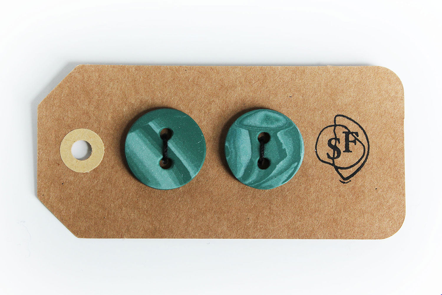 Handmade Porcelain Buttons - Green