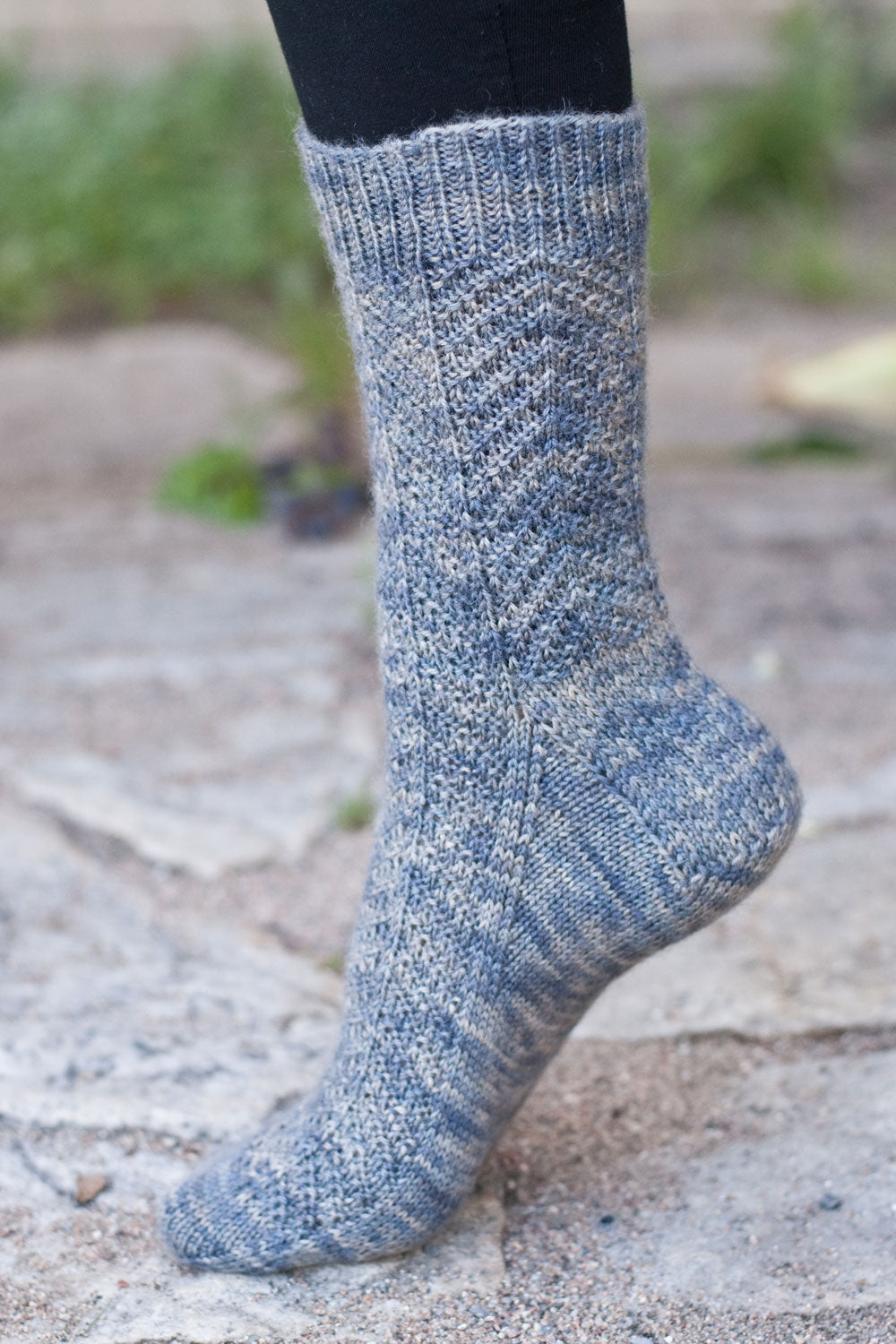 Harrowsmith sock pattern with knitted chevron stitch