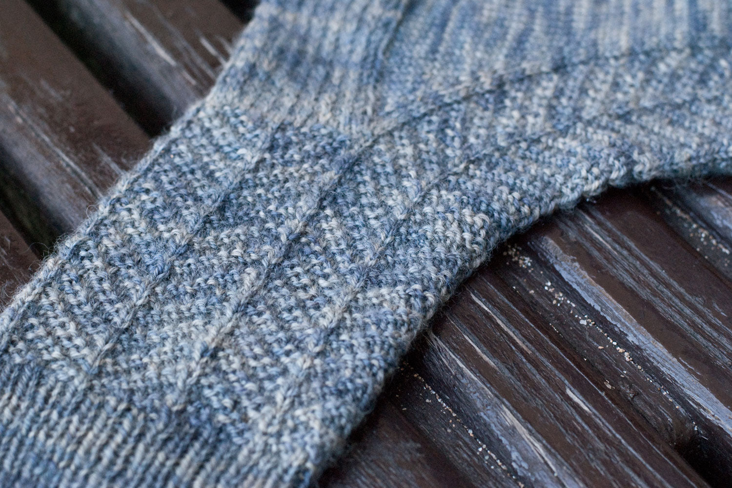 Stitch detail of Harrowsmith sock knitting pattern