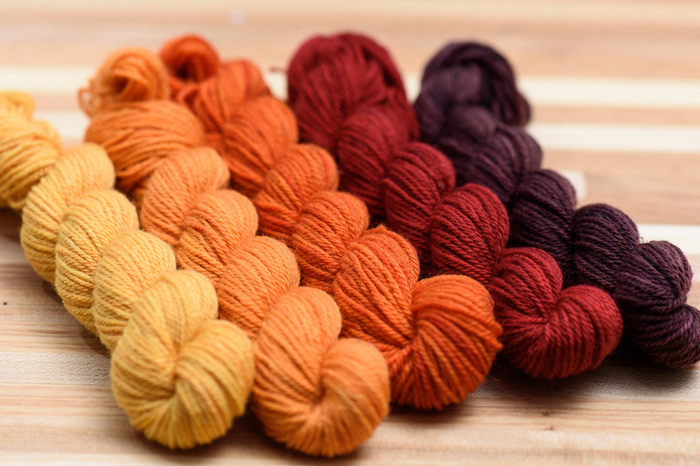 Elora Canadian hand-dyed yarn mini-skeins in Girl of the Limberlost