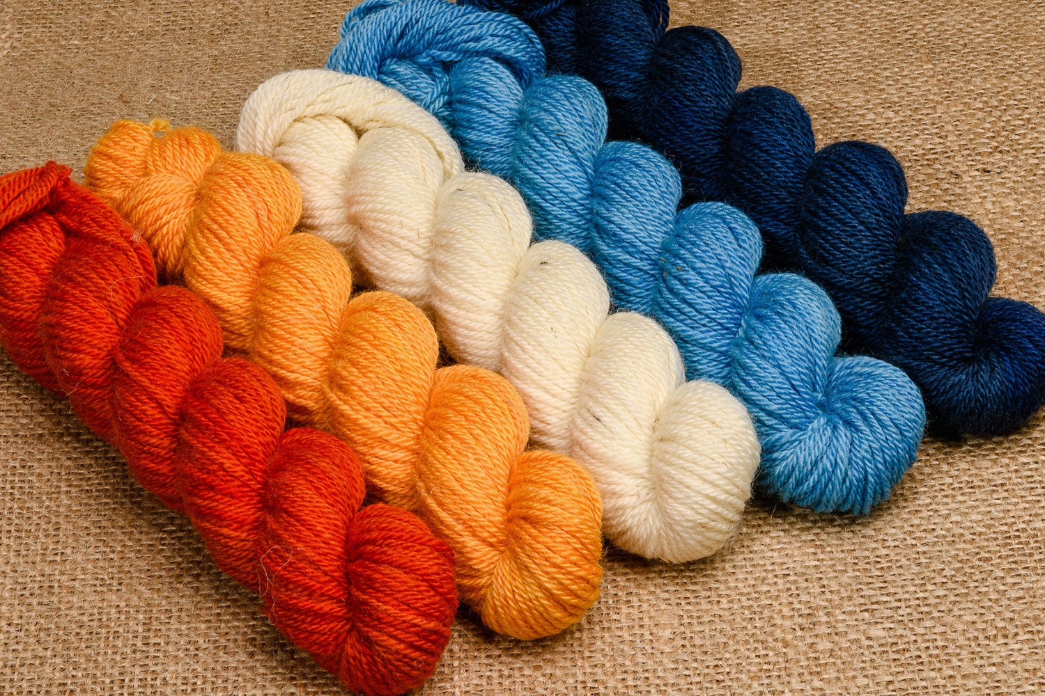 Elora Canadian hand-dyed yarn mini-skeins in Home is the Sailor