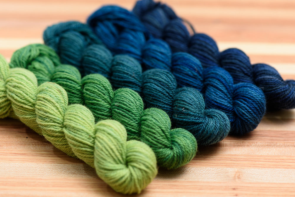 Elora Canadian hand-dyed yarn mini-skeins in Midnight Garden