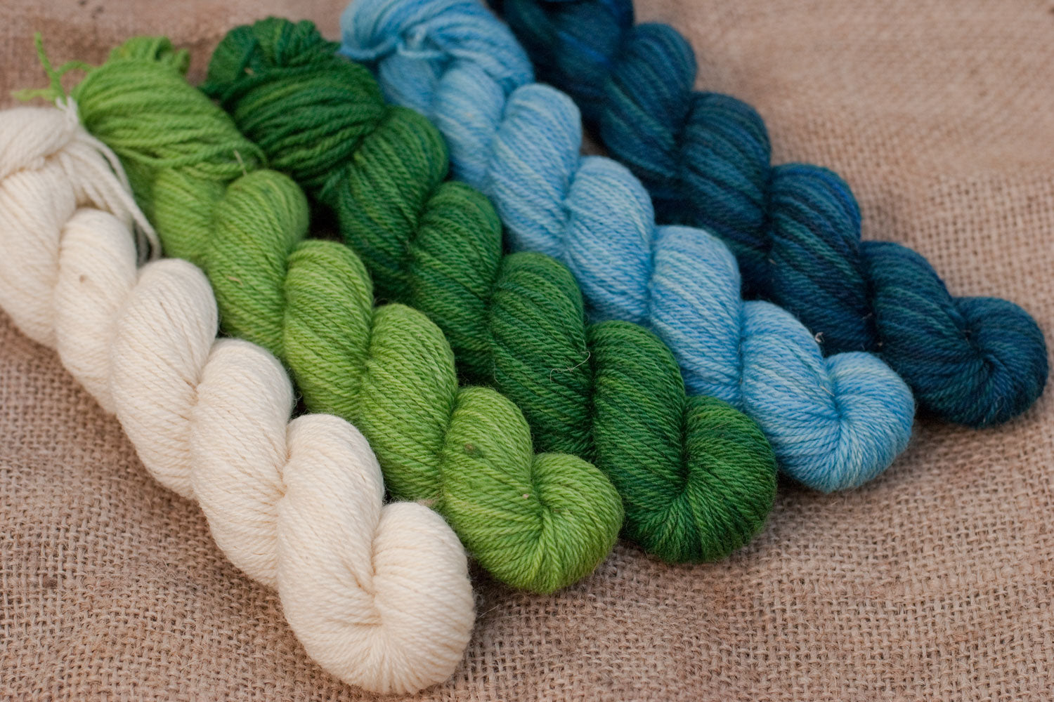hunded acre wood mini-skein set: natural, bright green, medium green, bright blue and medium blue