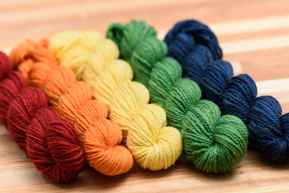 Elora Canadian hand-dyed yarn mini-skeins in Rainbow Valley