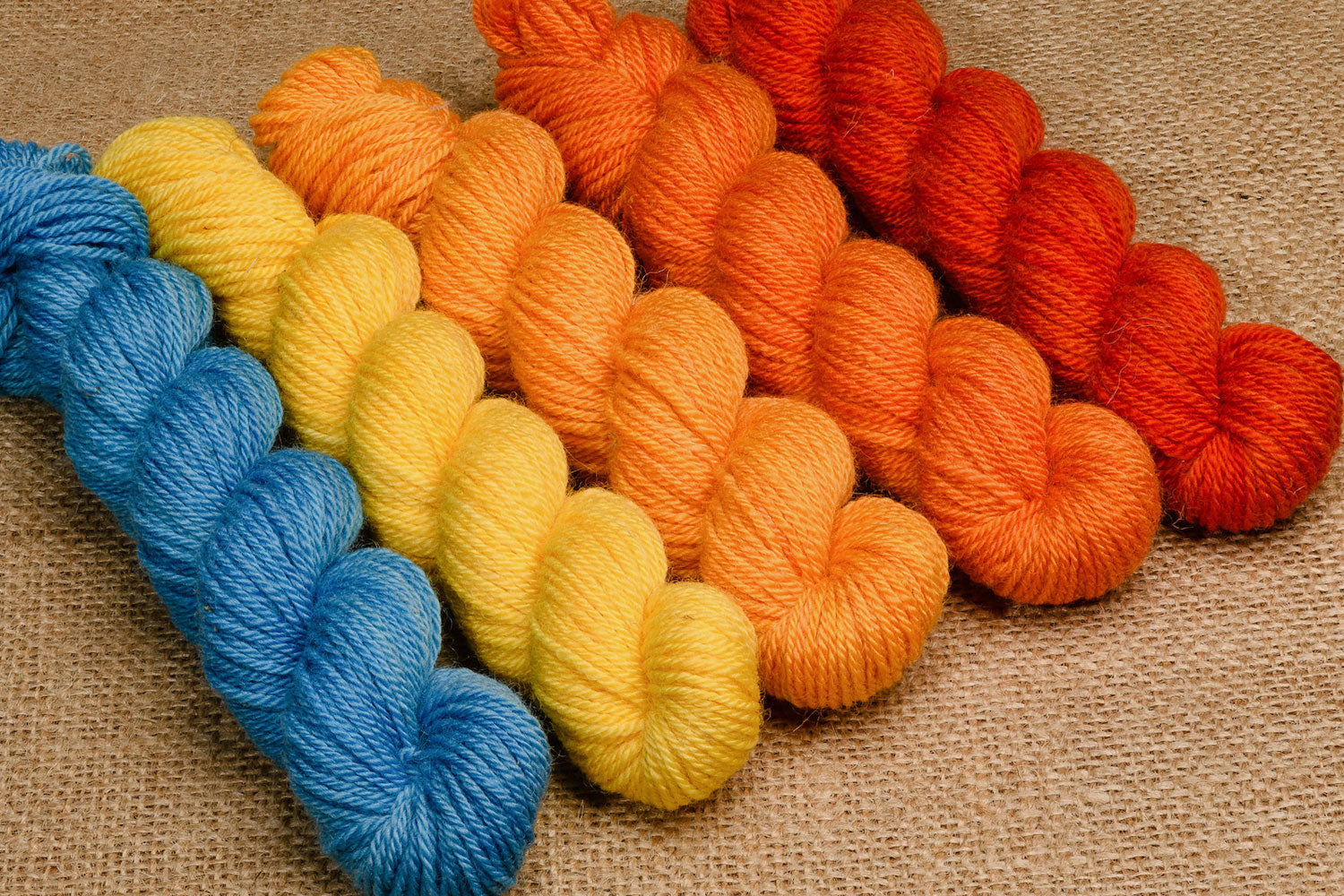 Elora Canadian hand-dyed yarn mini-skeins in Twenty-one Balloons