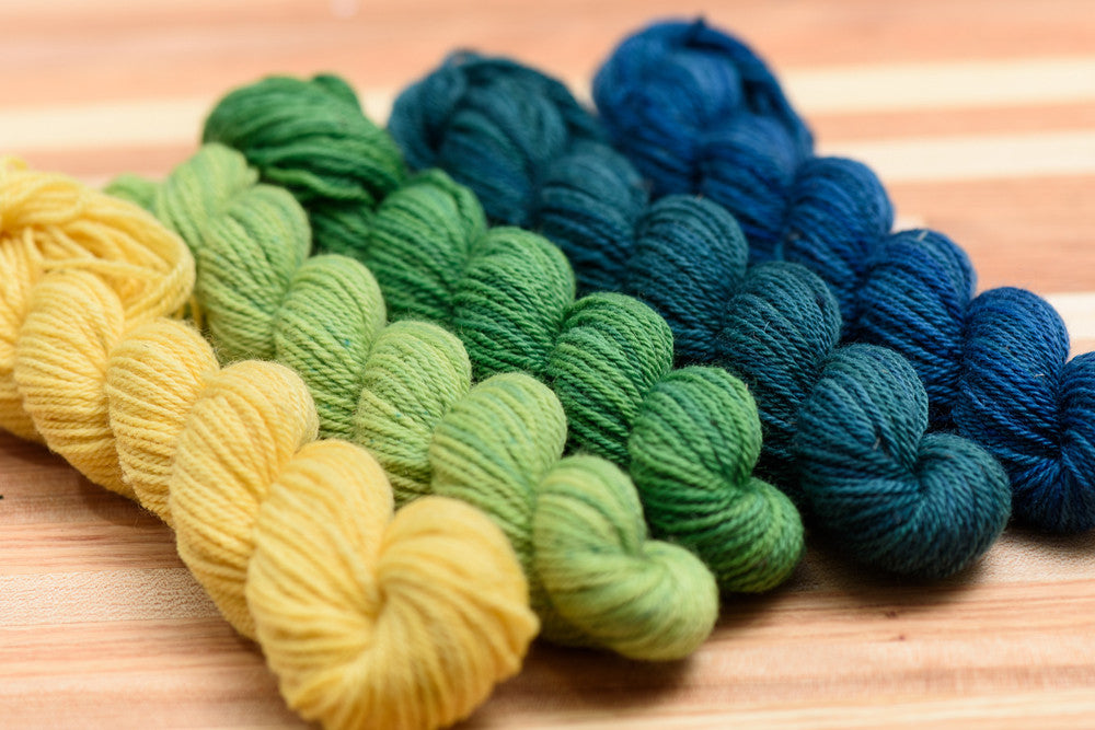 Elora Canadian hand-dyed yarn mini-skeins in Wind in the Willows