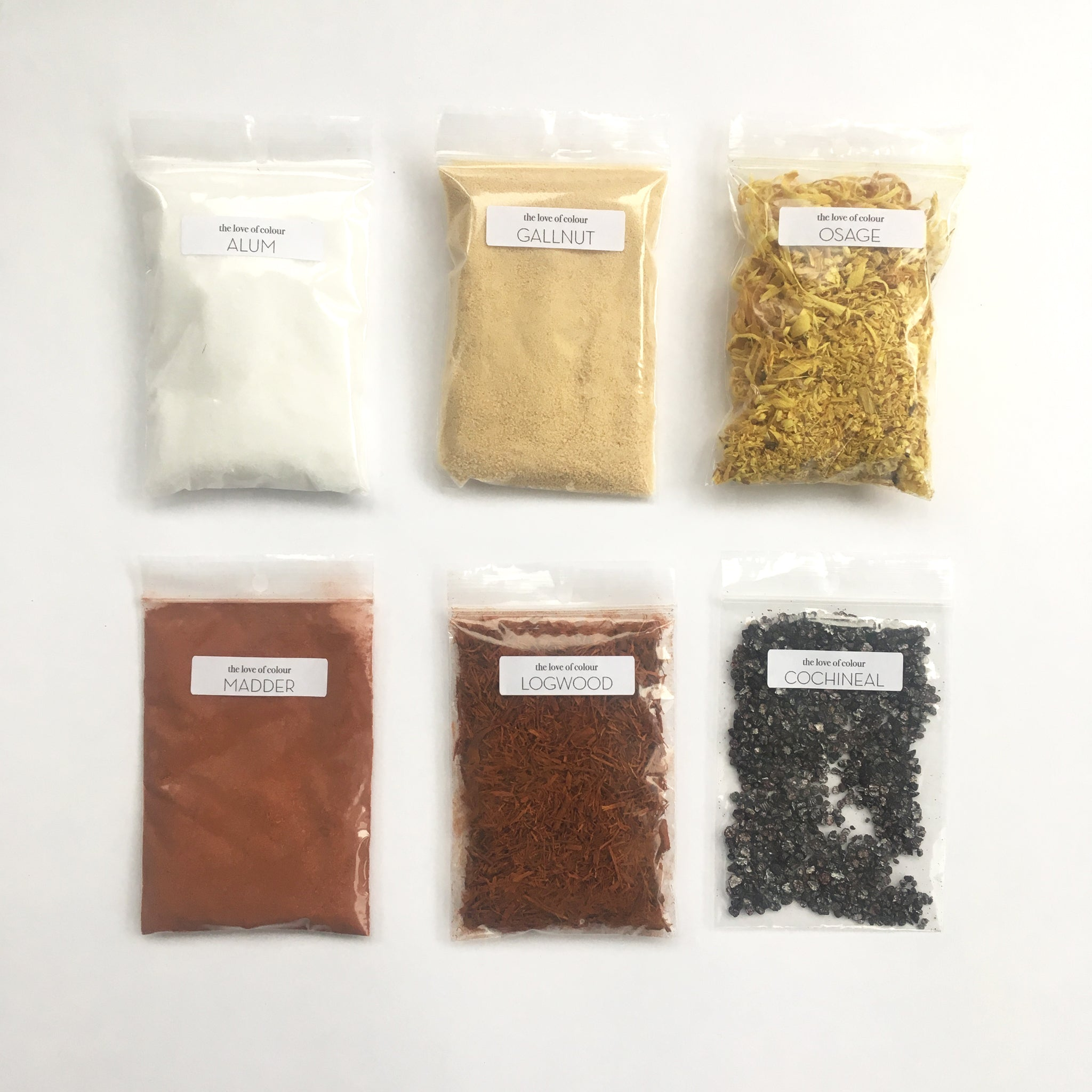 Contents of natural dye kit