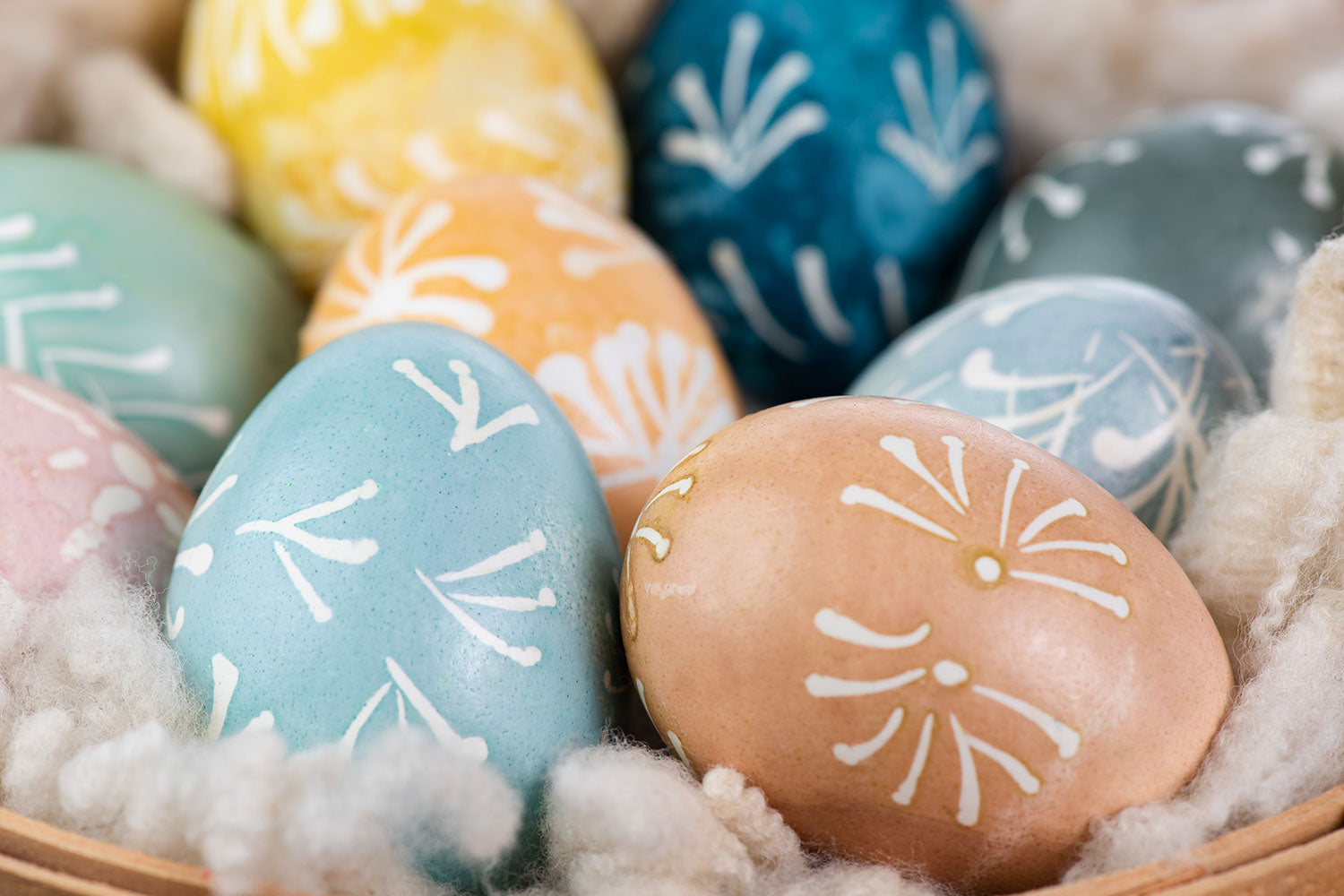 Traditional Lithuanian Easter eggs dyed with various natural dyes