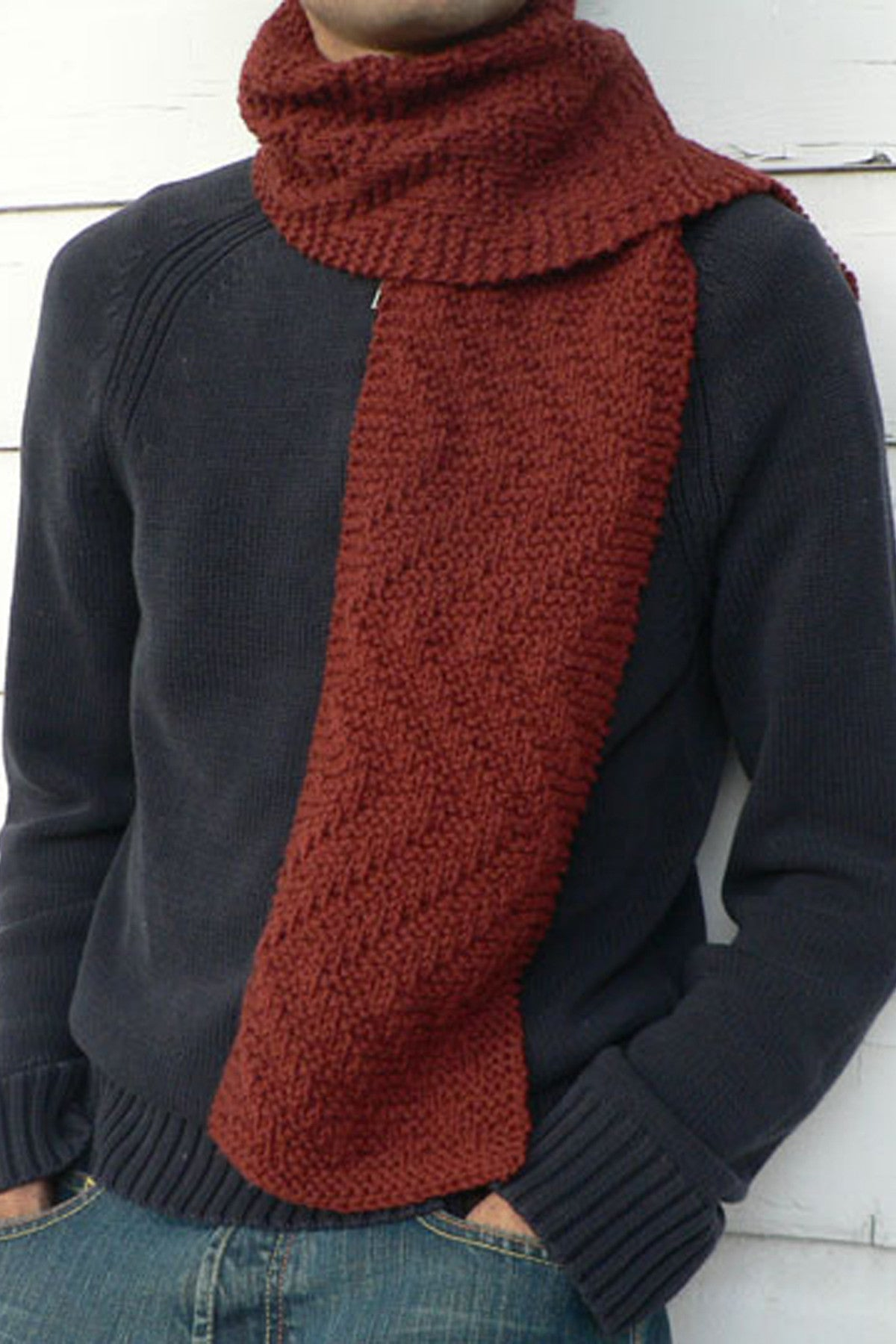 Rambler's Scarf with textured zig-zag knitting pattern for men.