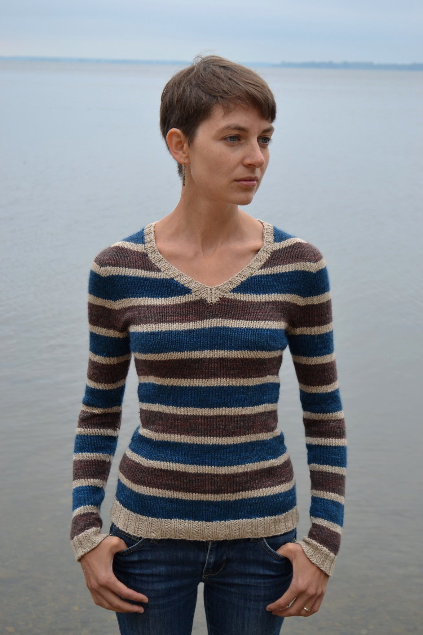 Stillness top-down striped knit pullover